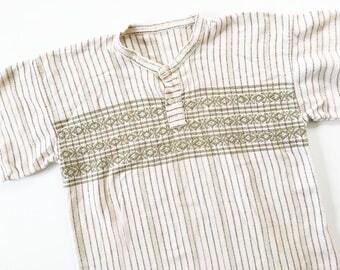 Mexican Embroidered Shirt / Striped Shirt / Bohemian Shirt / Vintage Cotton Shirt / 70s Shirt / Hippie Shirt / Boho Blouse