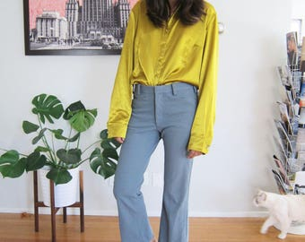 70s polyester pants - vintage 70s pants - blue gray trousers - vintage blue pants - high waisted trousers - 70s clothing - cropped pants