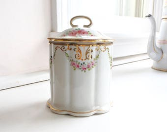 Charming hand-painted Nippon porcelain Jar with lid for condensed milk or jam, c. 1930