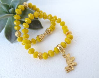 Set of Two Bracelets,Anjel Bracelet,Yellow Crystal Beads Bracelet,Beads Jewelry,Elegance,Charm Bracelet,Gifts for Her,Christmas Gifts