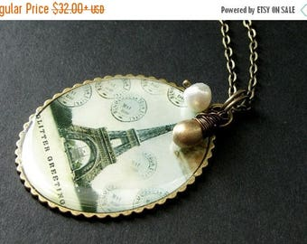 VALENTINE SALE Eiffel Tower Necklace. France Necklace. Eiffel Tower Pendant with Golden Teardrop and Fresh Water Pearl. French Postcard Neck