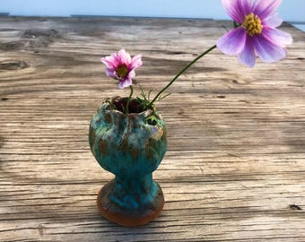 Ceramic Organic Turquoise Green Orange Vase