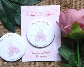 FAIRYTALE DISNEY CASTLE - Save the Date 77mm magnets with backing card x 40
