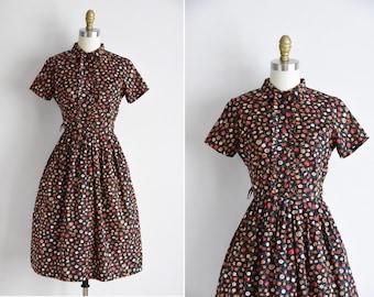1950s Summer Fruit dress/ vintage 1950s novelty dress / vintage  cotton novelty daydress