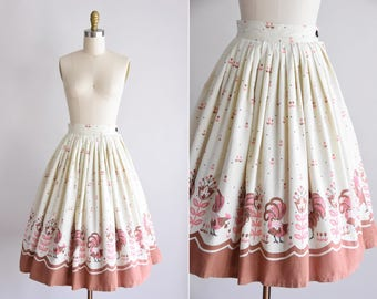 50s Country Songs skirt/ vintage 1950s novelty skirt/ cotton chicken print full skirt