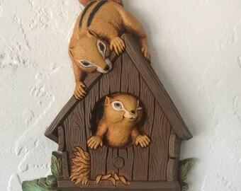Vintage Chipmunk in Birdhouse Wall Decor