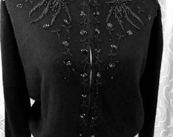 Vintage Black Beaded Cardigan