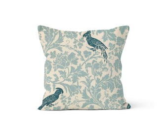 Blue Birds Pillow Cover - Barber Village Blue - Lumbar 12 14 16 18 20 22 24 26 Euro - Hidden Zipper Closure