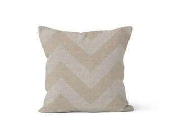 Beige Chevron Pillow Cover - Zippy Cloud - Lumbar 12 14 16 18 20 22 24 26 Euro - Hidden Zipper Closure