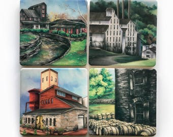 Ceramic absorbent distillery coasters, set of four; barware, bourbon, whiskey, makers mark, art print, man cave, woodford, stock the bar