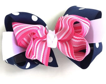 Navy, white & pink double boutique hair bow - navy boutique bow, boutique bow, girls hair bows, toddler bows, girls bows, layered bow