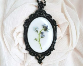 Witch necklace witch flowers victorian necklace pressed petal sympathy gift necklace memorial pendant black mourning necklace gothic wedding