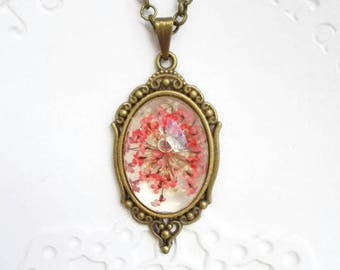 Appreciation gift jewelry red flower pendant vintage necklace Resin real flower Gift for mom gift for girlfriend fairy necklace for her