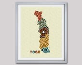 Togo Map Art Print Wall Decor, Togo Poster, Lomé Togo West Africa, African Art Print, African Map Poster