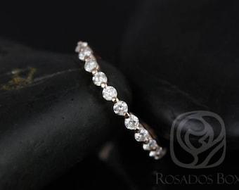 Rosados Box Ready to Ship Petite Naomi/Petite Bubble & Breathe 14kt Rose Gold Diamond HALFWAY Eternity Band