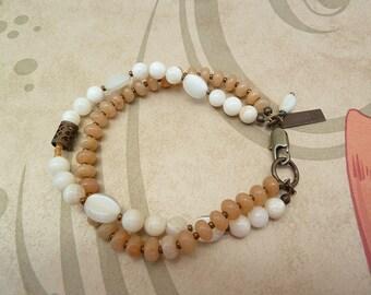 Two Strand Bracelet, Beaded Bracelet, Sundance Style Jewelry, Peach and Cream, Apricot Aventurine, Peach Beaded Bracelet, Shell Beads, Gift