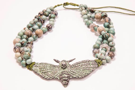 Uniquely handcrafted Death head hawk moth / handmade / jewelery / skullJewelry