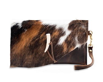 Cow hair Leather Clutch, Handbag, Bags and Purses