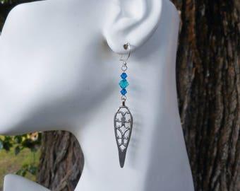 Blue earrings,long earrings, silver earrings, teal blue earrings,silver drop earrings, boho earrings, bohemian jewelry, filigree earrings