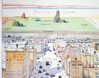 Saul Steinberg-The New Yorker-1976 Poster