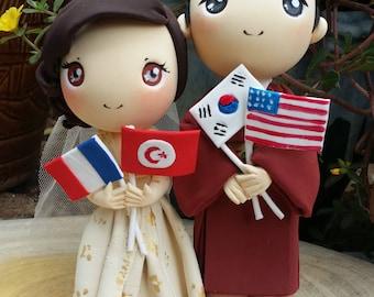 International wedding Chinese French bride and Korean American groom wedding cake topper clay doll,Hanbok Korean wedding costume clay figure