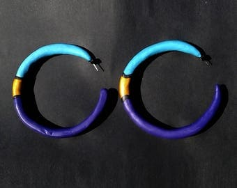 Classy Range   BIG Purple and Blue Hoop Earrings with Gold detail