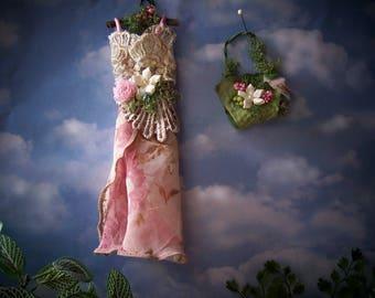 Fairy, Dollhouse Miniature Shabby Cottage Garden Dress Handcrafted ooak