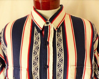 vintage 90's Roper Rodeo Blue red white navy blue vertical stripe southwest short sleeve collar shirt native american print button up XXXL