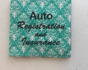 Embroidered Teal/Aqua Damask and Hot Pink Auto Registration/Insurance Card Holder
