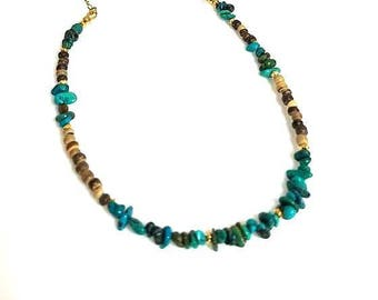 brown coconut shell real turquoise gemstone chip necklace blue green stone necklace earthy southwest necklace southwestern beaded jewelry