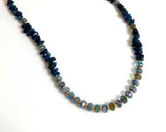blue apatite gemstone chips gold chain necklace with pale teal rondelle beads natural stone beaded bib jewelry necklaces for women
