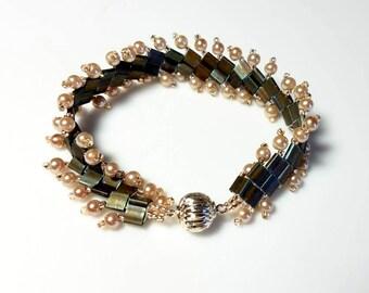 Matte Brown Tila Beads Pink Pearl Woven Cuff Bracelet Pink Beaded Seed Beads Bracelet Magnetic Clasp Bracelet Unique Modern Beadwork Jewelry