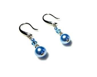 Blue Crystal Blue Swarovski Crystal Pearl Earrings Hypoallergenic Earrings Nickel Free Earrings Dangle Drop Earrings Beaded Jewelry