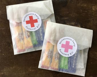 """Bachelorette Party favors, set of 20, 2"""" round stickers, wax paper favor bags, Hangover kit, recovery kit, survival kit, Red or Pink cross"""