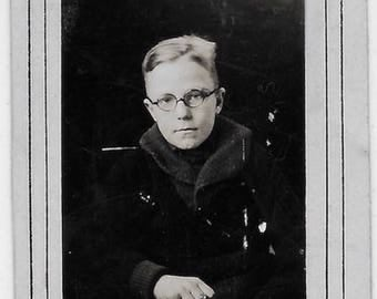 Old Photo Boy wearing Round Glasses Book School Photo 1930s Photograph Snapshot vintage
