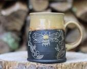 98 Pitch Pine Pottery Art Nouveau Stoneware Bee Mug - Honey - 16 oz