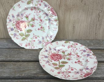 Rose Chintz Bread & Butter Plates, Set 2 Johnson Bros Salad