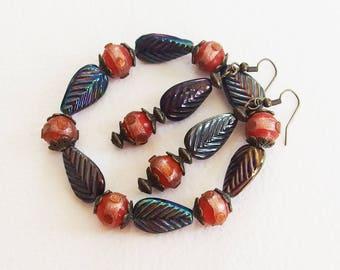 Set Vintage jewelry - Bracelet and earrings - Baroque Lampwork beads and Bronze - designer jewelry, handmade, unique piece