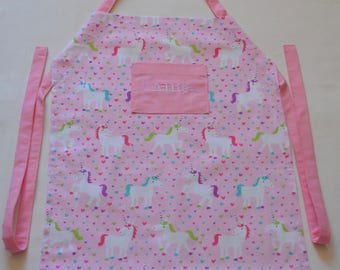 I Love Unicorns Personalized Girl's Apron