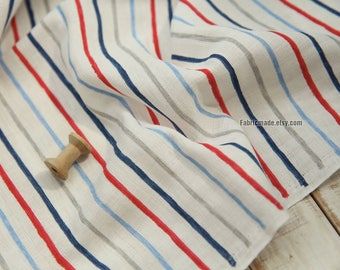 Double Layers Linen Blended Fabric, White Linen With Blue Red Grey Stripes - 1/2 Yard