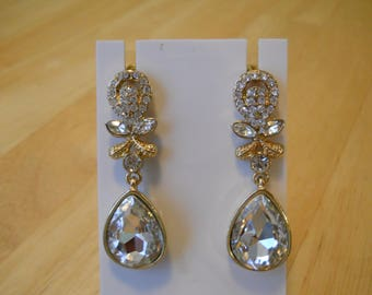 Post/Stud Clear Crystal and Rhinestone Dangle Earrings