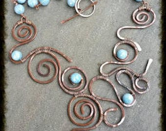 Amachi copper and angelite stones necklace