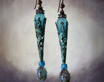 Ocean blue green lampwork glass and verdigris filigree assemblage earrings, mixed media earrings, unique handmade jewelry, AnvilArtifacts