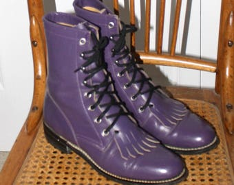 Vintage Purple JUSTIN DIAMOND Roper Cowgirl Boots . Awesome Pair of Leather Kiltie Ropers With Fringe . Country Western Boots . Size  6