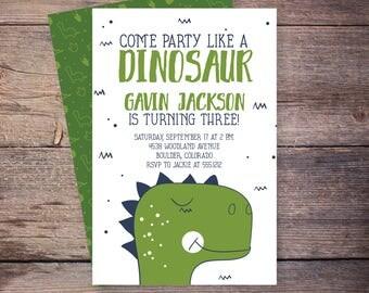 Dinosaur Birthday Invitation, Dinosaur Invitation, Dinosaur Birthday Party Invite, Dino Birthday Invitation, First 1st Birthday Boy – Gavin