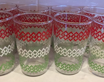 Vintage Set of Eight Juice Glasses Red Green White
