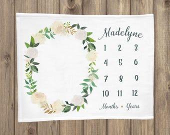 Baby Milestone Blanket, White Floral Milestone Blanket, Monthly Growth Tracker, Soft Minky Fleece Blanket, Custom Baby Blanket, Baby Gifts