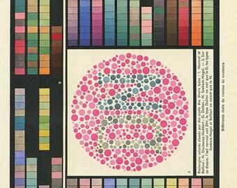Dyschromatopsie 1962 Gravure medicale vintage Cadeau pour ophtalmologue cadeau médecin Décoration de cabinet médical