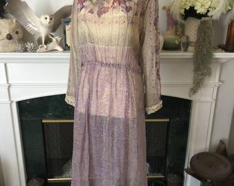 70s Rose Print Silk Summer Day Dress