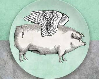Pigs fly plate with mint green or white